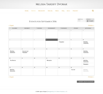Capitol Harpist: Calendar